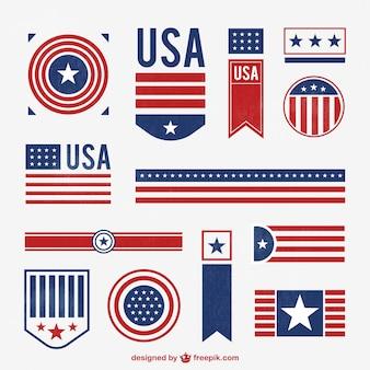 Gestempeld amerikaanse badges