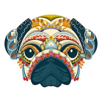 Gestileerd kleurrijk pug portret op witte achtergrond