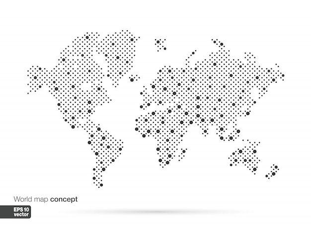 Gestileerd wereldkaartconcept met de grootste steden. globes zakelijke achtergrond. illustratie.