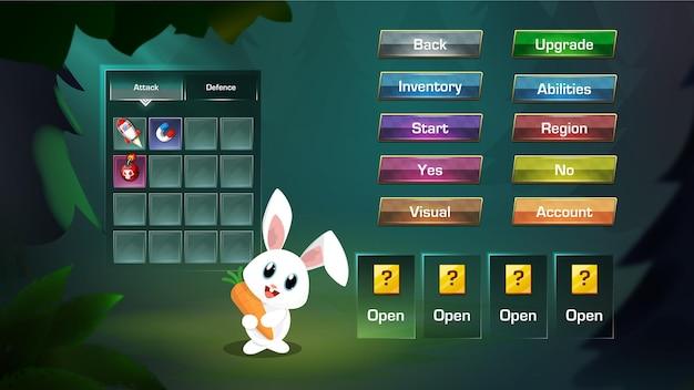 Gestileerde game ui-items menu pop-up