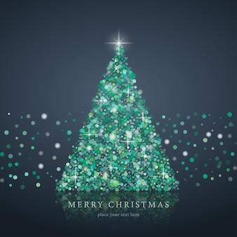 Gestileerde groene kerstboom silhouet van kunst cirkel vector achtergrond eps10
