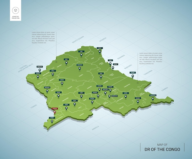 Gestileerde kaart van de dr congo isometrische 3d-groene kaart met steden