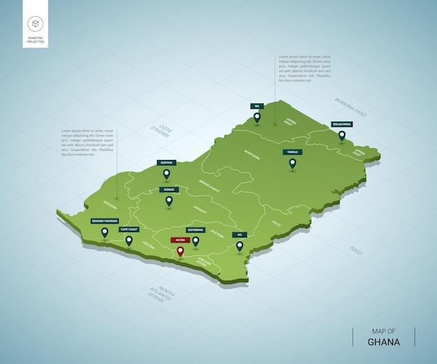 Gestileerde kaart van ghana.