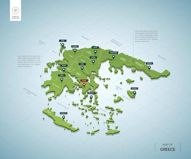 Gestileerde kaart van griekenland.