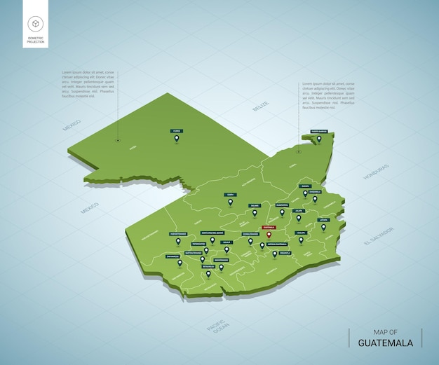 Gestileerde kaart van guatemala.