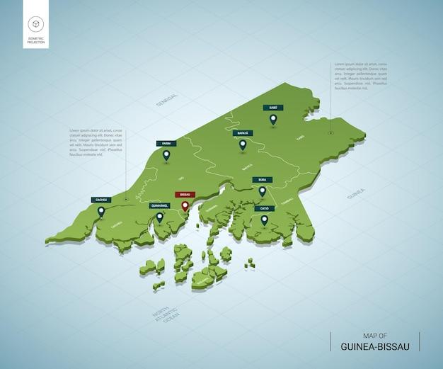Gestileerde kaart van guinee-bissau.