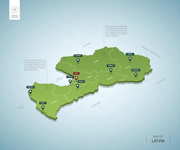Gestileerde kaart van letland. isometrische 3d-groene kaart met steden, grenzen, hoofdstad riga, regio's.