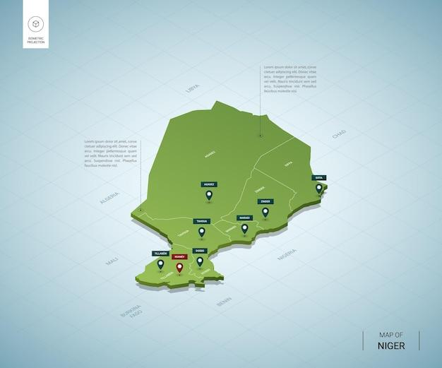Gestileerde kaart van niger. isometrische 3d-groene kaart met steden, grenzen, kapitaal, regio's.