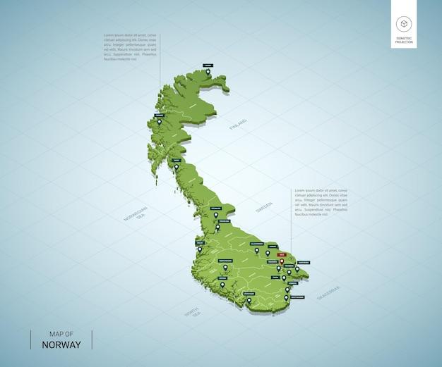 Gestileerde kaart van noorwegen. isometrische 3d-groene kaart met steden, grenzen, hoofdstad oslo, regio's.
