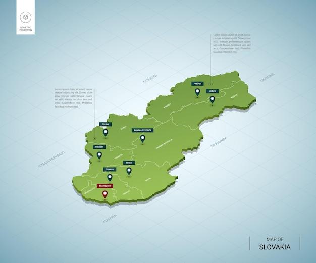 Gestileerde kaart van slowakije. isometrische 3d-groene kaart met steden, grenzen, hoofdstad bratislava, regio's.