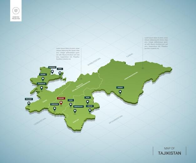 Gestileerde kaart van tadzjikistan. isometrische 3d-groene kaart met steden, grenzen, hoofdstad dushanbe, regio's.