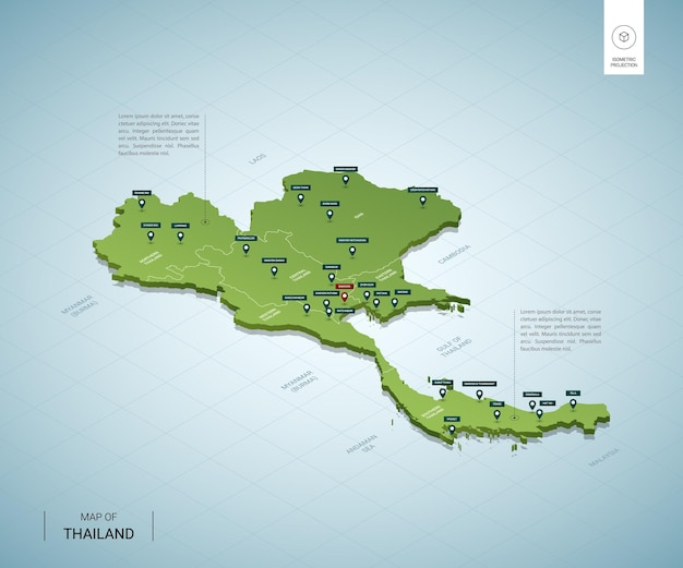 Gestileerde kaart van thailand. isometrische 3d-groene kaart met steden, grenzen, hoofdstad bangkok, regio's.