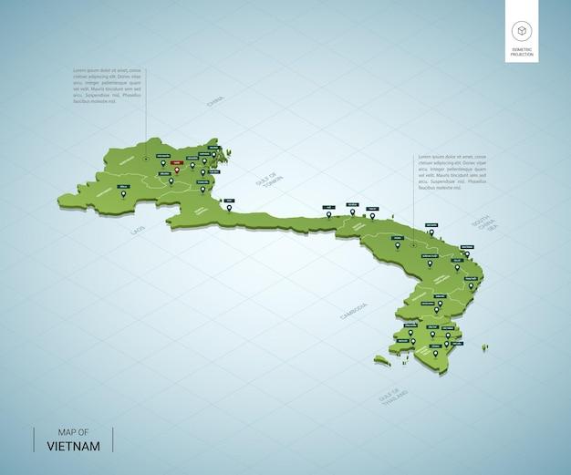Gestileerde kaart van vietnam. isometrische 3d-groene kaart met steden, grenzen, hoofdstad hanoi, regio's.