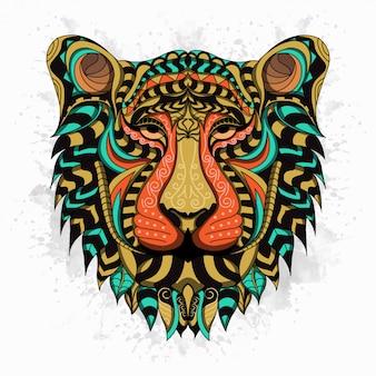 Gestileerde leeuw in etnische stijl