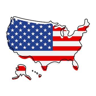 Gestileerde overzichtskaart van amerika met het pictogram van de nationale vlag. vlag kleur kaart van de v.s. vectorillustratie.