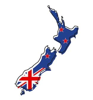 Gestileerde overzichtskaart van nieuw-zeeland met het pictogram van de nationale vlag. vlag kleur kaart van nieuw-zeeland vectorillustratie.