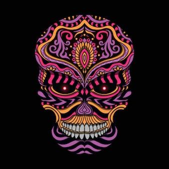 Gestileerde schedel in etnische stijl