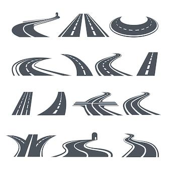 Gestileerde symbolen van weg en snelweg.