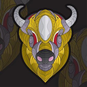 Gestileerde zentangle dier kleuren bizon illustratie