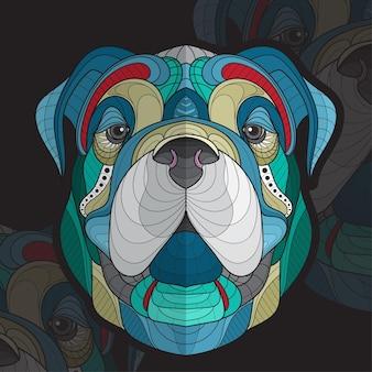 Gestileerde zentangle dier kleuren grote hond gezicht illustratie