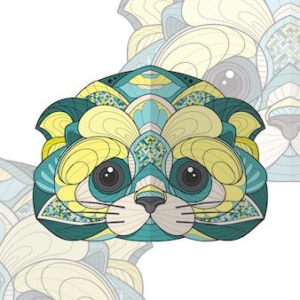 Gestileerde zentangle dier kleuren kat illustratie