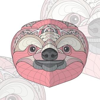 Gestileerde zentangle dier kleuren luiaard illustratie