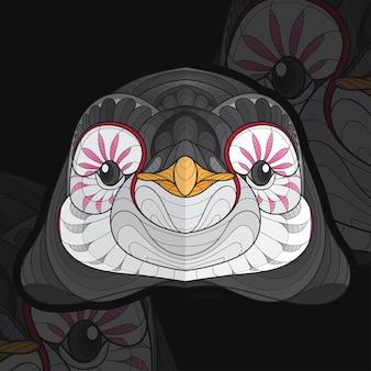Gestileerde zentangle dier kleuren pinguïns illustratie