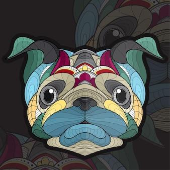 Gestileerde zentangle dier kleuren pug hond illustratie