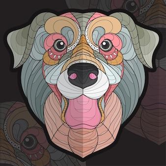 Gestileerde zentangle dier kleuren puppy labrador illustratie