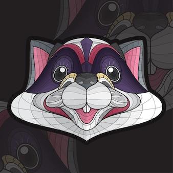 Gestileerde zentangle dier kleuren wasbeer illustratie