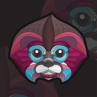 Gestileerde zentangle dieren kleuren baby aap illustratie