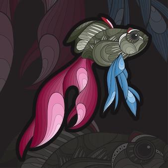 Gestileerde zentangle dieren kleuren koi fis illustratie