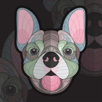 Gestileerde zentangle dieren kleuren puppy illustratie