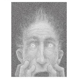 Gestippeld zwart en wit portret