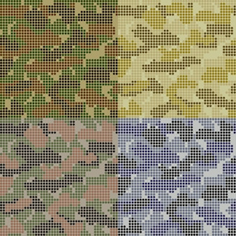 Gestippelde camouflagepatronen ingesteld