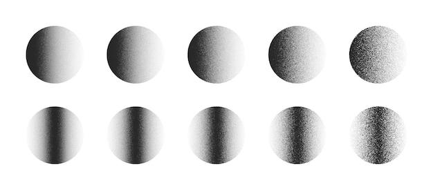 Gestippelde cirkels in verschillende variaties hand getrokken dotwork abstracte vormen instellen geïsoleerd op een witte achtergrond. verschillende graden zwarte ruis gestippelde ronde ontwerpelementencollectie