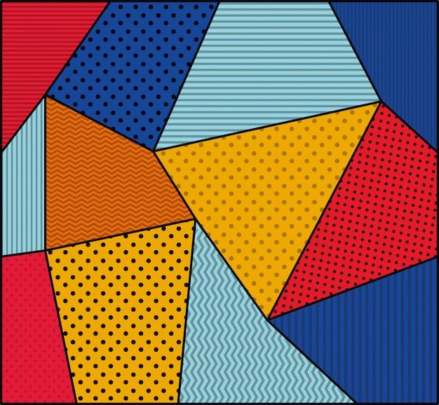 Gestippelde en kleuren achtergrondpop-artstijl