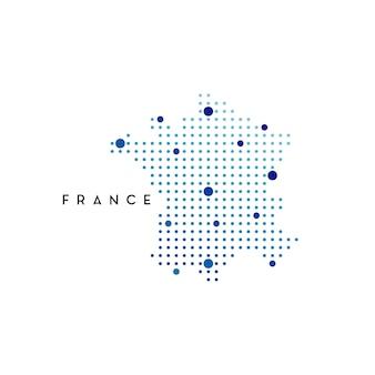 Gestippelde frankrijk kaart logo ontwerp inspiratie