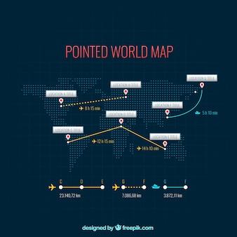 Gestippelde kaart van de wereld