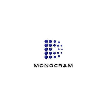 Gestippelde letter d abstracte stijl vector logo concept digitale innovatie technologie geïsoleerd pictogram op