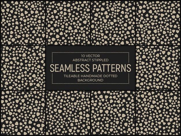 Gestippelde retro funky abstracte naadloze patronen vectorreeks