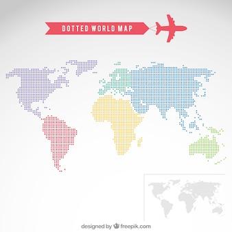 Gestippelde wereld kaart