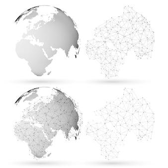 Gestippelde wereldbol met abstracte constructie