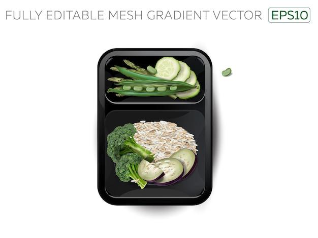 Gestoomde rijst met groenten in een lunchbox.