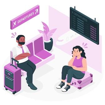 Gestrande reiziger concept illustratie