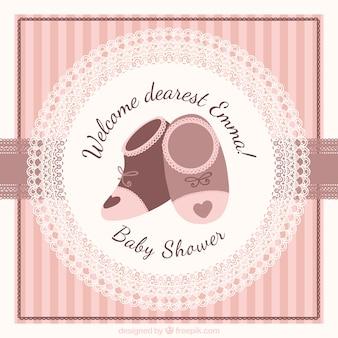 Gestreept baby shower kaart met leuke schoenen