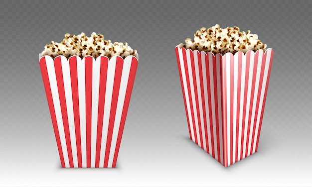 Gestreept document vakje met popcorn die op witte achtergrond wordt geïsoleerd. realistische mock-up van witte en rode emmer met popcorn voor bioscoop- of bioscoopvoorkant en hoekweergave