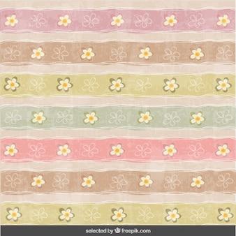 Gestreept hand getekende patroon met bloemen