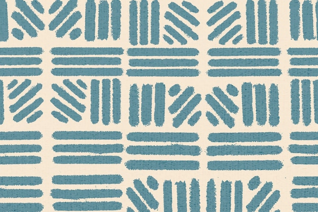 Gestreept patroon, textiel vintage achtergrond vector in blauw