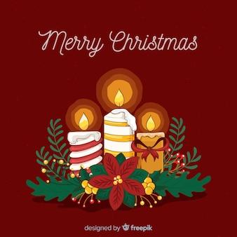 Gestreepte aangestoken kaarsen kerstmis achtergrond